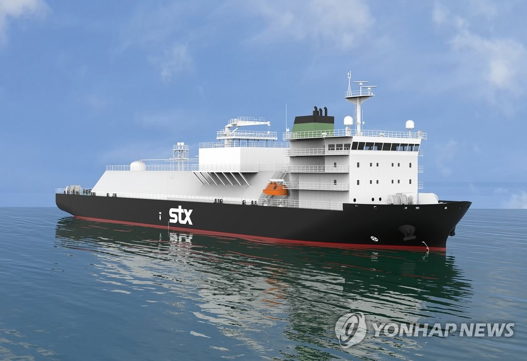 This file photo provided by STX Offshore & Shipbuilding shows a liquefied natural gas (LNG) bunkering ship. (PHOTO NOT FOR SALE) (Yonhap)