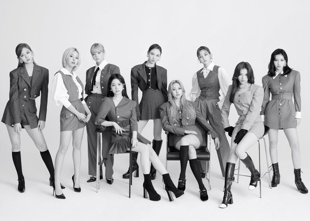 This photo, provided by JYP Entertainment on Oct. 28, 2020, shows members of K-pop girl group TWICE. (PHOTO NOT FOR SALE) (Yonhap)