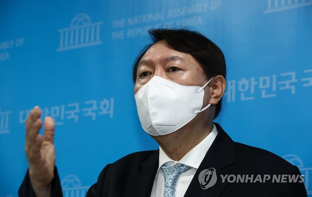Former Prosecutor General Yoon Seok-youl, a leading presidential hopeful, speaks to reporters at the National Assembly in Seoul on June 30, 2021. (Yonhap)